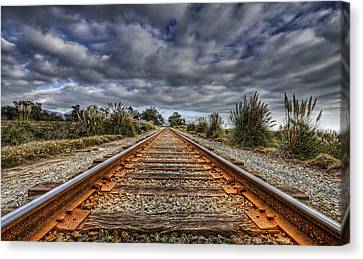 Rusty Rail Line And Fog Clouds Canvas Print by Lachlan Kay
