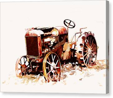 Rusty Tractor In The Snow Canvas Print by Suni Roveto