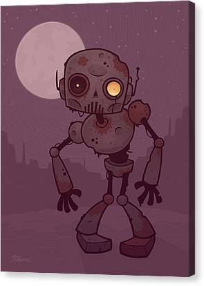Rusty Zombie Robot Canvas Print by John Schwegel