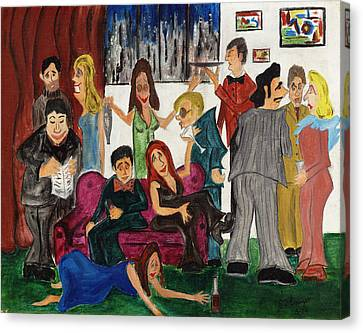 Canvas Print featuring the painting Ruthys Party by Stuart B Yaeger