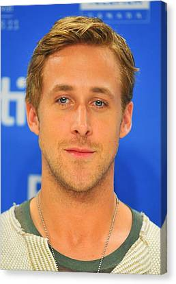 Ryan Gosling At The Press Conference Canvas Print by Everett
