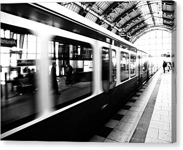 White Canvas Print - S-bahn Berlin by Falko Follert