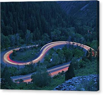 S-curve Lights Canvas Print by Ben Harvey Photography