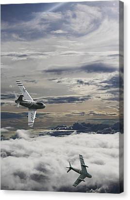 Sabre Dance In Mig Alley Canvas Print by Peter Chilelli