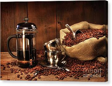 Sack Of Coffee Beans With French Press Canvas Print by Sandra Cunningham