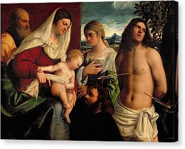Sacra Conversatione With Ss Catherine Sebastian And Holy Family Canvas Print by Sebastiano de Piombo
