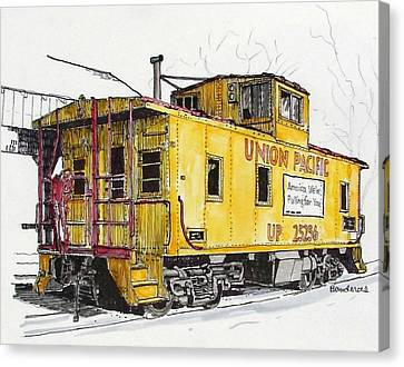Canvas Print featuring the painting Sacramento Caboose by Terry Banderas