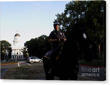 Sacramento Police Mounted Association Horse Patrol At The California State Capitol . Spma . 7d11785 Canvas Print by Wingsdomain Art and Photography