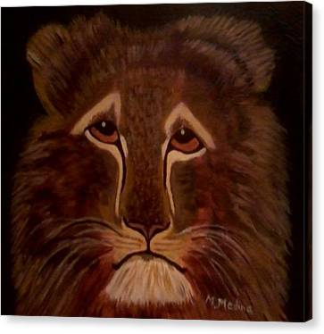 Sad Lion Canvas Print by Maria Medina