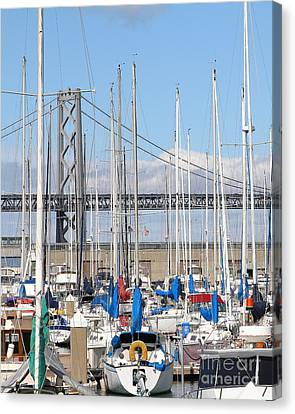 Sail Boats At San Francisco China Basin Pier 42 With The Bay Bridge In The Background . 7d7683 Canvas Print by Wingsdomain Art and Photography