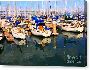 Sail Boats At San Francisco's Pier 42 . Dark Version Canvas Print by Wingsdomain Art and Photography