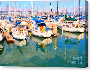 Sail Boats At San Francisco's Pier 42 Canvas Print by Wingsdomain Art and Photography