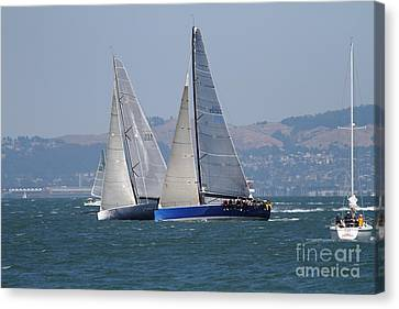Sail Boats On The San Francisco Bay - 7d18323 Canvas Print by Wingsdomain Art and Photography