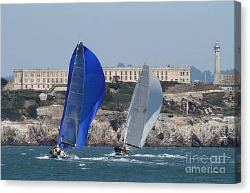 Alcatraz Canvas Print - Sail Boats On The San Francisco Bay - 7d18360 by Wingsdomain Art and Photography