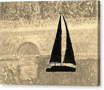 Sail In Sepia Sea Canvas Print by Sonali Gangane