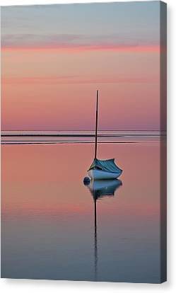 Sailboat And Buoy At Sunset Canvas Print by Betty Wiley