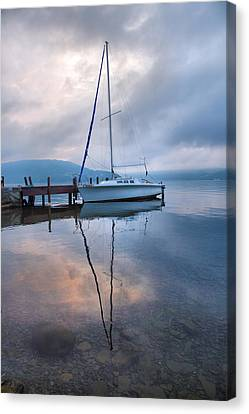 Sailboat And Lake I Canvas Print by Steven Ainsworth