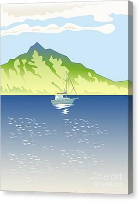 Sailboat Mountains Retro Canvas Print by Aloysius Patrimonio