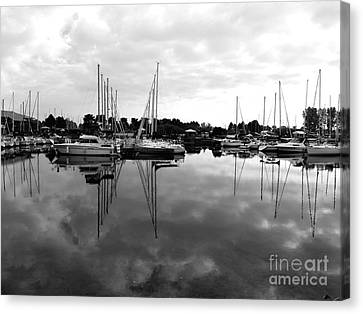 Canvas Print featuring the photograph Sailboats At Bluffers Marina Toronto by Susan  Dimitrakopoulos