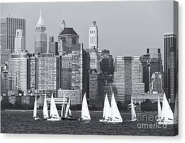 Sailboats On The Hudson V Canvas Print by Clarence Holmes