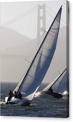 Sailboats Race On San Francisco Bay Canvas Print by Skip Brown