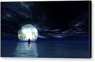 Sailing At Night... Canvas Print