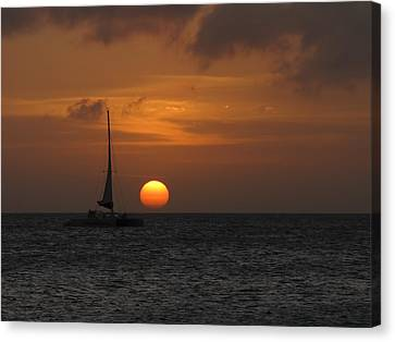 Canvas Print featuring the photograph Sailing Away by David Gleeson