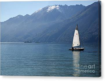 Sailing Boat And Mountain Canvas Print by Mats Silvan