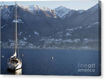 Sailing Boat On A Lake Canvas Print by Mats Silvan