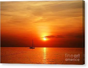 Sailing Boat Sunset At Kata Beach Phuket  Canvas Print