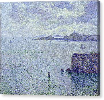 Sailing Boats In An Estuary Canvas Print by Theo van Rysselberghe
