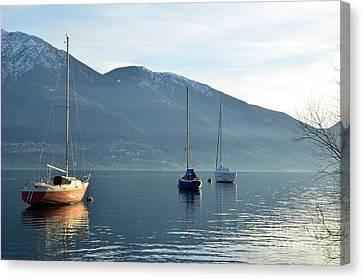 Brnch Canvas Print - Sailing Boats On An Alpine Lake by Mats Silvan