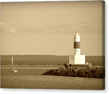 Sailing By The Marquette Presque Isle Lighthouse Canvas Print by Mark J Seefeldt