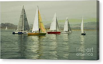 Sailing Day Regatta Canvas Print by Julie Lueders