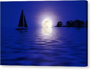 Sailing Into The Moonlight Canvas Print