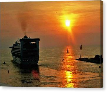 Sailing Into The Sunset Canvas Print by Gary Wonning