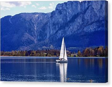 Sailing On Mondsee Lake Canvas Print by Lauri Novak