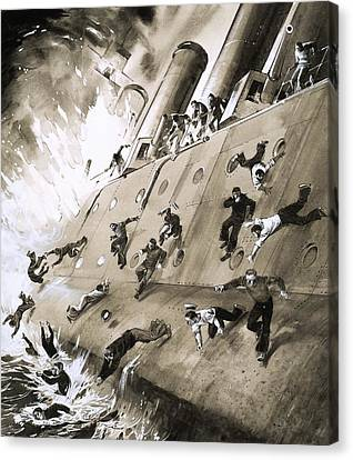 Sailors Escaping Hms Natal Which Caught Fire In Cromerty Firth In 1915 Canvas Print by English School