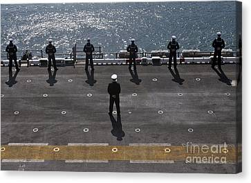 Lines Of The Hands Canvas Print - Sailors Man The Rails On The Amphibious by Stocktrek Images