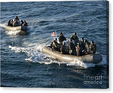 Sailors Participate In A Visit, Board Canvas Print by Stocktrek Images