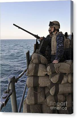 Sailors Stand Small Caliber Attack Team Canvas Print by Stocktrek Images
