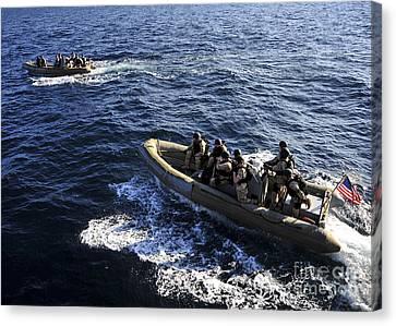 Sailors Transit The Atlantic Ocean Canvas Print by Stocktrek Images