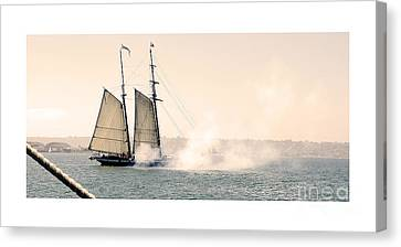 Sails And Cannons Canvas Print by MaryJane Armstrong