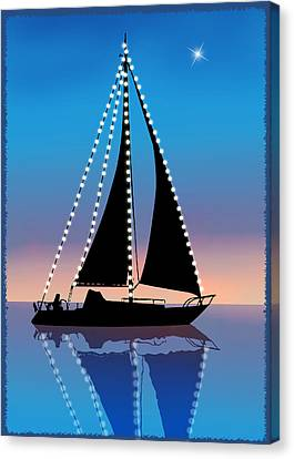 Sails At Sunset Silhouette With Xmas Lights  Canvas Print by Elaine Plesser