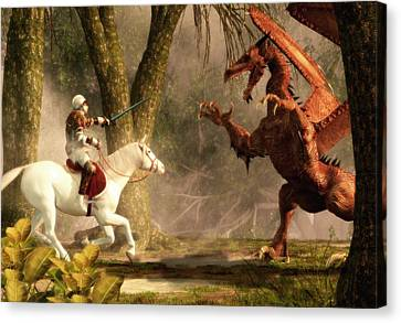 Saint George And The Dragon Canvas Print by Daniel Eskridge