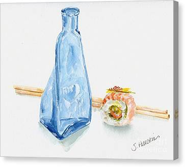 Sake And Sushi Canvas Print by Sheryl Heatherly Hawkins