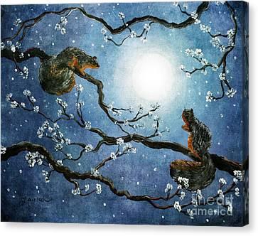 Sakura Squirrels Canvas Print by Laura Iverson