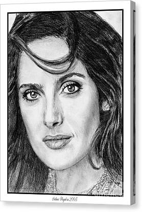 Canvas Print featuring the drawing Salma Hayek In 2005 by J McCombie