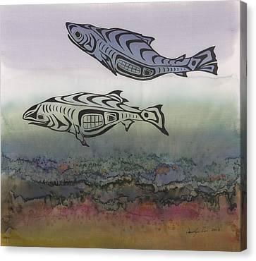 Salmon Stream Canvas Print by Carolyn Doe