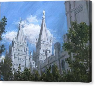 Mormon Canvas Print - Salt Lake Temple by Nik English